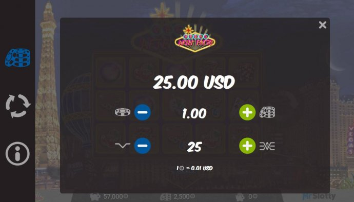 Click on the side menu button to adjust the lines played or coin size. by No Deposit Casino Guide