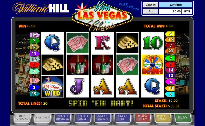 No Deposit Casino Guide - Main game board featuring five reels and 20 paylines with a $100,000 max payout