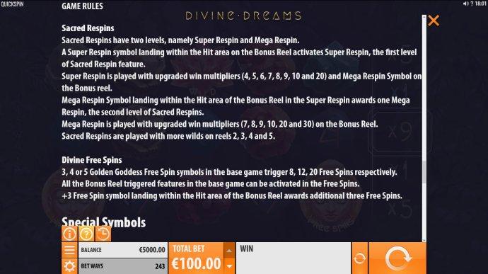 No Deposit Casino Guide image of Divine Dreams