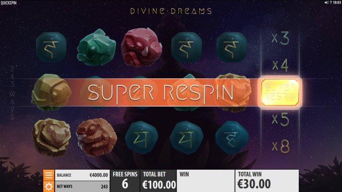 No Deposit Casino Guide - Super Respin triggered