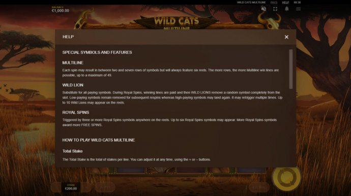 Wild Cats Multiline by No Deposit Casino Guide