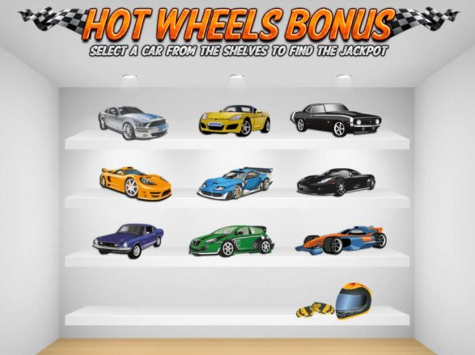 No Deposit Casino Guide - Hot Wheels Bonus Feature Game Board - Select a car from the shelves to find a jackpot