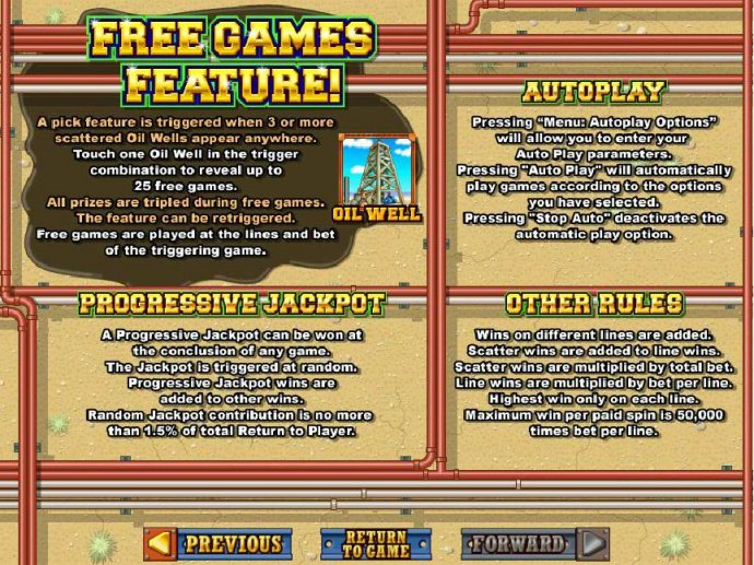 Progressive Jackpots can be won at the conclusion fo any game. Jackpots are triggered at random. Maximum win per paid spin is 50,000 times bet per line. - No Deposit Casino Guide