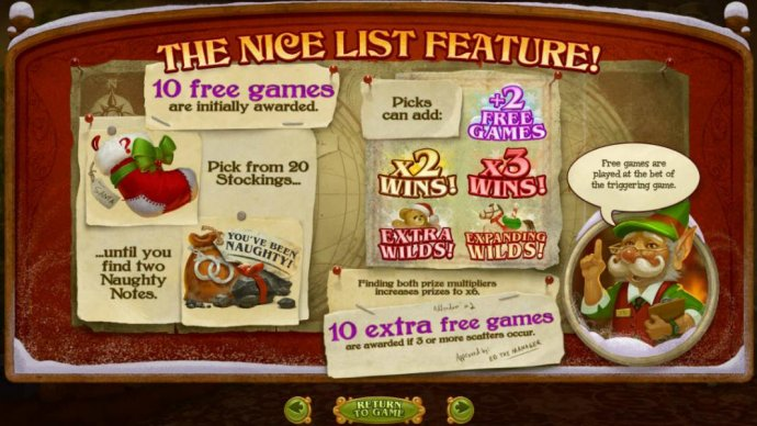 The Nice List feature consists of 10 free games initially. Pick from 20 stockings until you find two Naughty Notes. by No Deposit Casino Guide