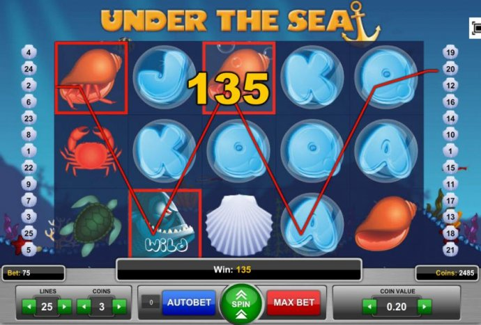 Three of a Kind triggers a 135 coin big win! - No Deposit Casino Guide