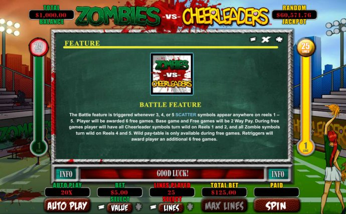 No Deposit Casino Guide image of Zombies vs Cheerleaders