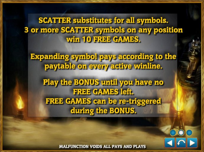 Scatter substitutes for all symbols. 3 or more scatters symbols on any position win 10 free games. Expanding symbol pays according to the paytable on every active winline. by No Deposit Casino Guide