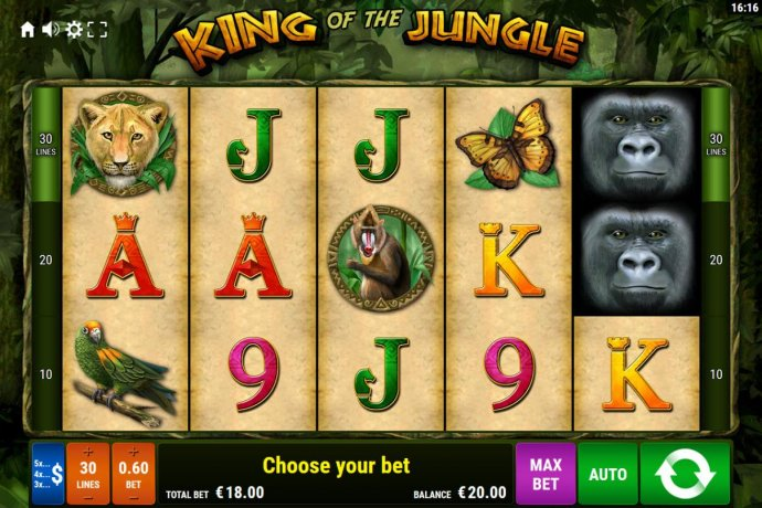 Main game board featuring five reels and 30 paylines with a $600 max payout. by No Deposit Casino Guide