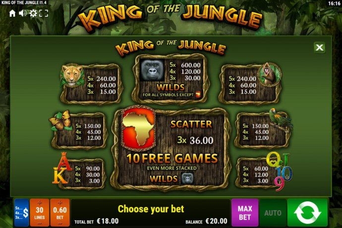 No Deposit Casino Guide image of King of the Jungle