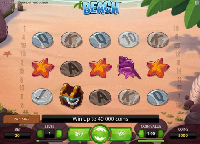 main game board featuring five reels and twenty paylines. win up to 40000 coins - No Deposit Casino Guide