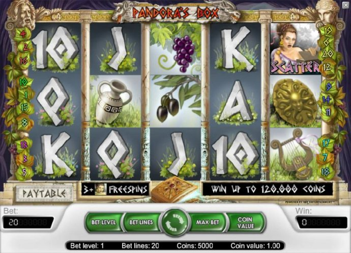 main game board featuring five reels, twenty paylines and a chance to win up to 120,000 coins - No Deposit Casino Guide