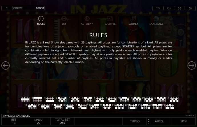 General Game Rules and Payline Diagrams 1-25 by No Deposit Casino Guide