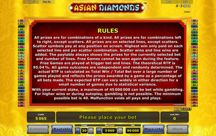 No Deposit Casino Guide image of Asian Diamonds