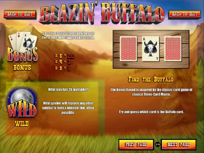 3 or more bonus icons anywhere on the screen will trigger the bonus round - Find the Buffalo - No Deposit Casino Guide