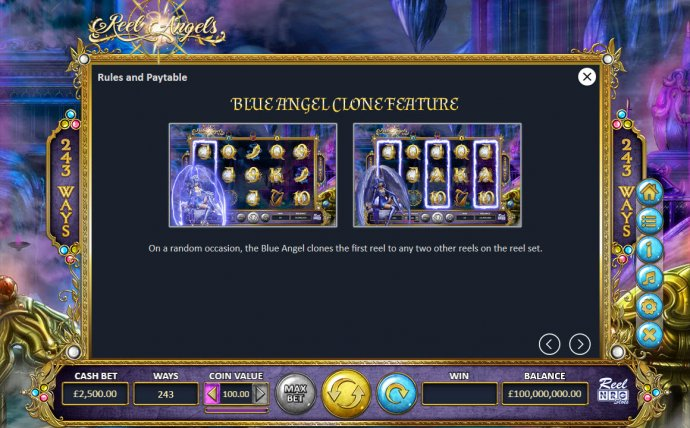 Blue Angel Clone Feature by No Deposit Casino Guide