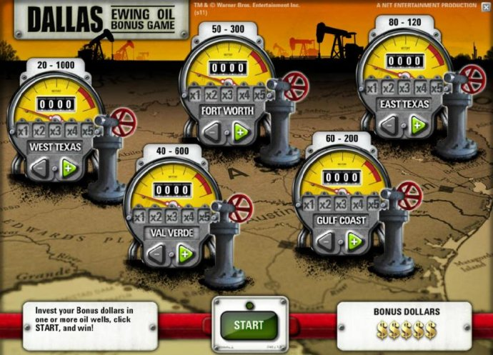 invets your bonus dollars in one or more oil wells for a chance to win - No Deposit Casino Guide