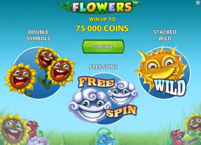game features - win up to 75000 coins, double symbols, free spins and stacked wilds by No Deposit Casino Guide