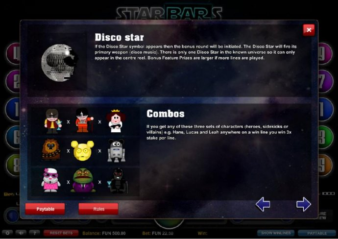 Disco Star and Combos Feature Rules. - No Deposit Casino Guide