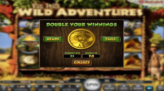 Double Up gamble feature is available after every winning spin. Select Heads or Tails for a chance to double your winnings. by No Deposit Casino Guide