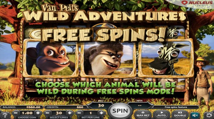 Free Spins feature triggered, choose which animal will be wild during free spins mode - No Deposit Casino Guide