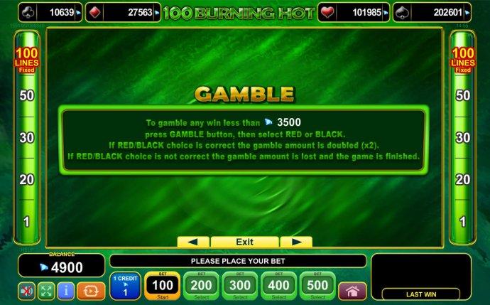 100 Burning Hot by No Deposit Casino Guide