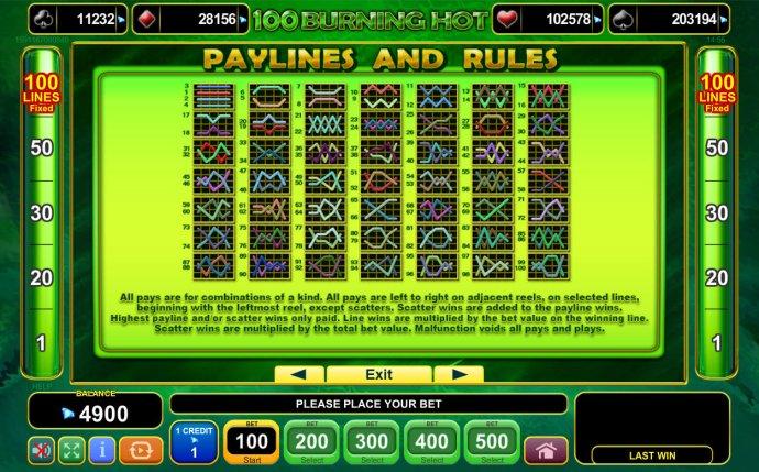 No Deposit Casino Guide image of 100 Burning Hot