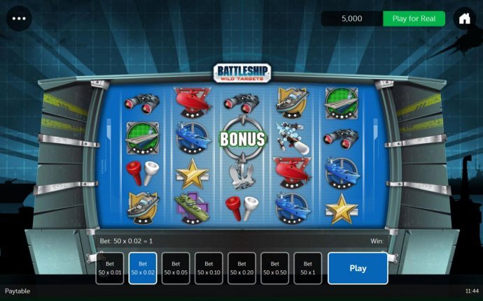 A war game themed main game board featuring five reels and 50 paylines with a $500 max payout. by No Deposit Casino Guide