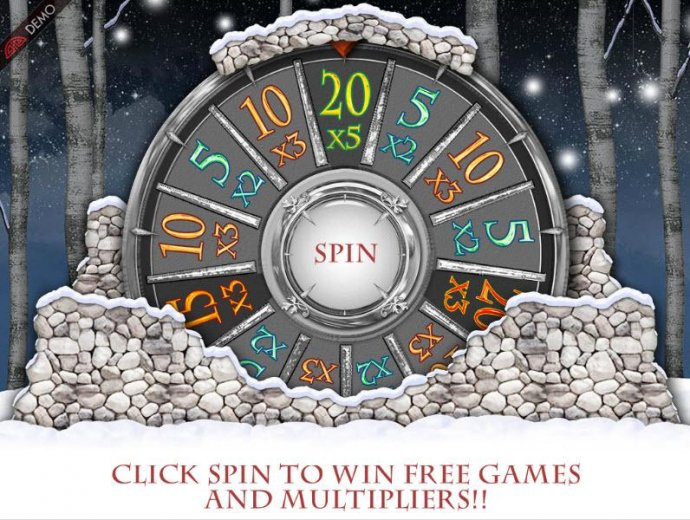 The Winter Wheel Feature - Click spin to win a prize award. - No Deposit Casino Guide