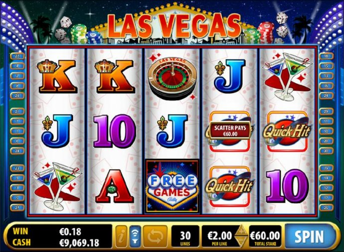 Three Quick Hit scatter symbols leads to a $60 payout by No Deposit Casino Guide