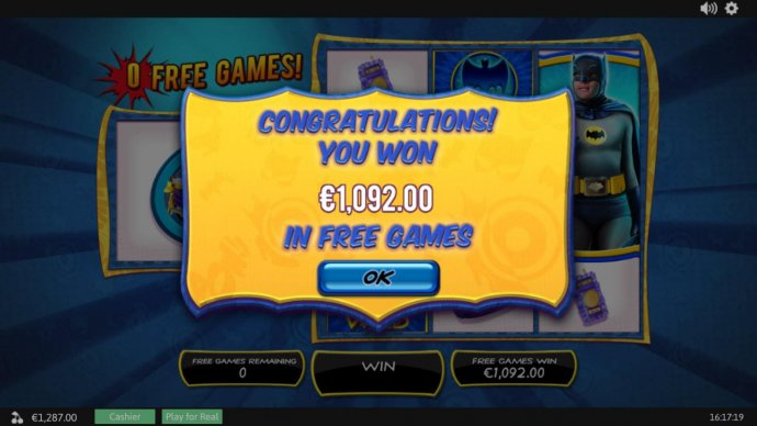 Free Games total pay out is 1,092.50 - No Deposit Casino Guide