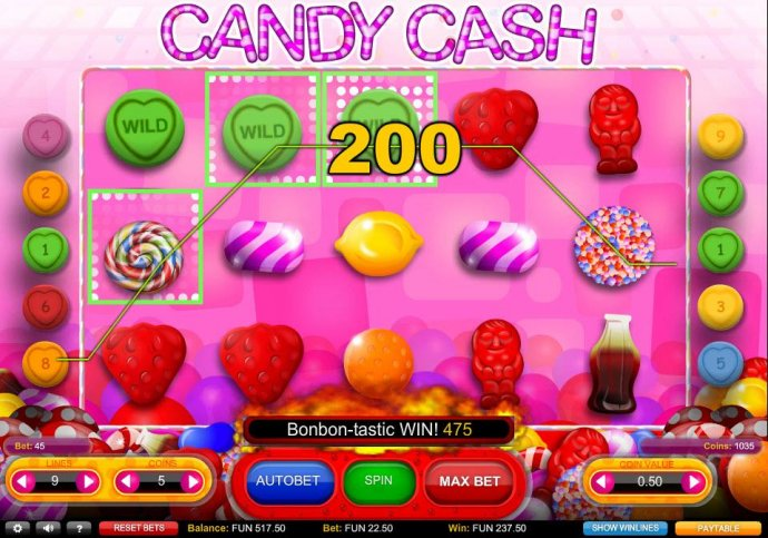 No Deposit Casino Guide - Multiple winning paylines triggers a 475 credit big win!