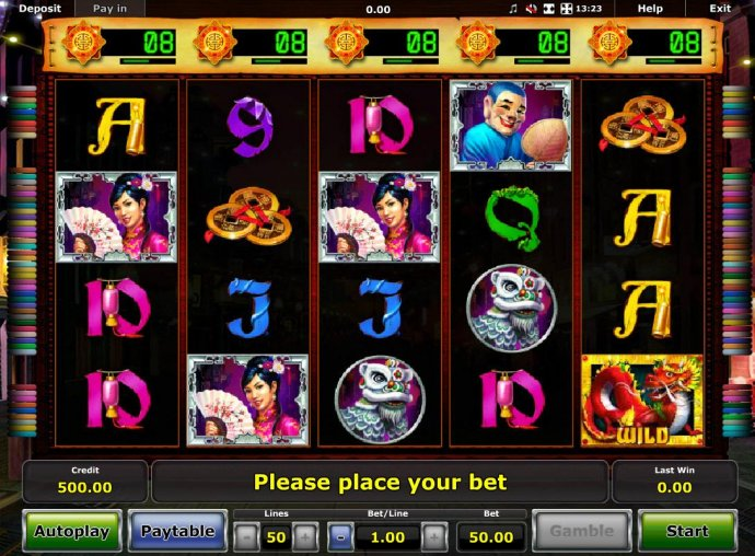 No Deposit Casino Guide - Main game board featuring five reels and 50 paylines with a $50,000 max payout.