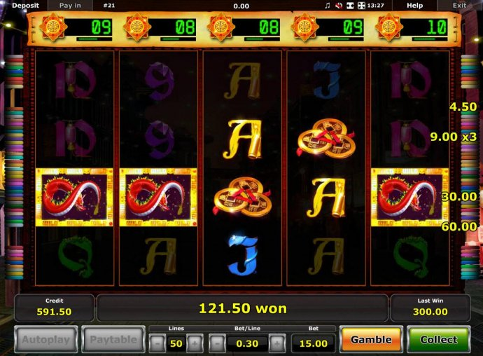 No Deposit Casino Guide - Multiple winning paylines triggers a 121.50 big win!