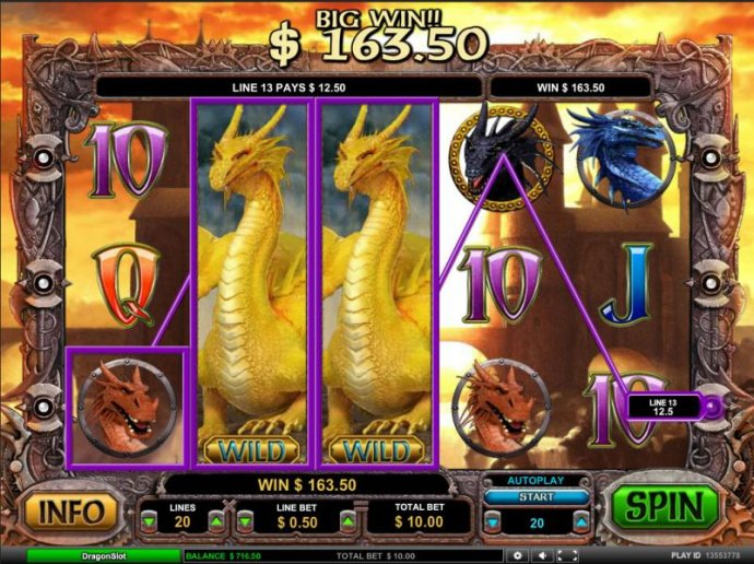 stacked wilds trigger a 163.50 coin jackpot payout by No Deposit Casino Guide