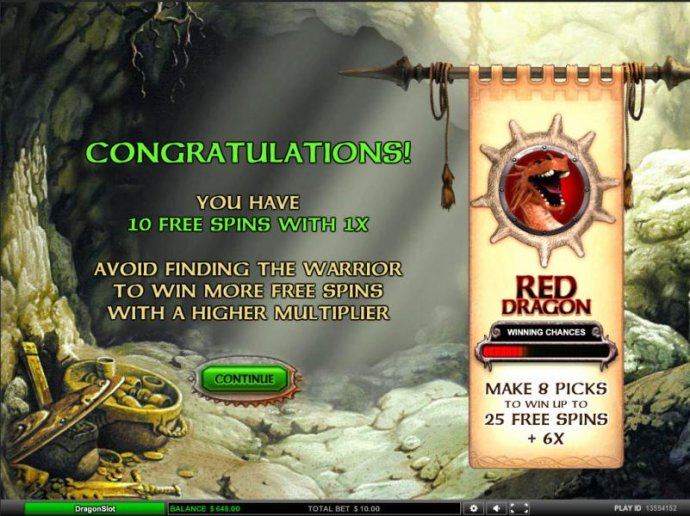 10 free spins with 1x. avoid finding the warrior to win more free spins with a higher multiplier - No Deposit Casino Guide