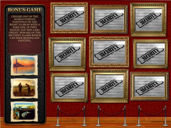 bonus feature game - choose one of the world famous paintings to swap with a fake one, if they match, you win big by No Deposit Casino Guide
