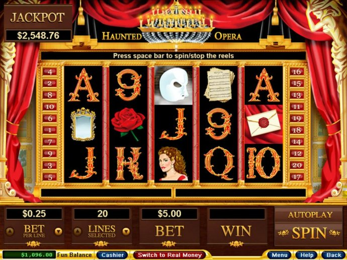 No Deposit Casino Guide - An opera themed main game board featuring five reels and 20 paylines with a $250,000 max payout
