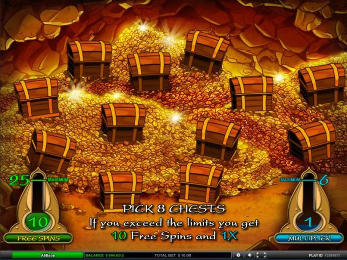 Pick 8 chests. If you exceed the limit you get 10 free spins and 1x by No Deposit Casino Guide