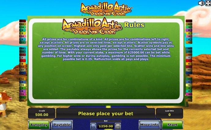 Armadillo Artie Dash for Cash by No Deposit Casino Guide