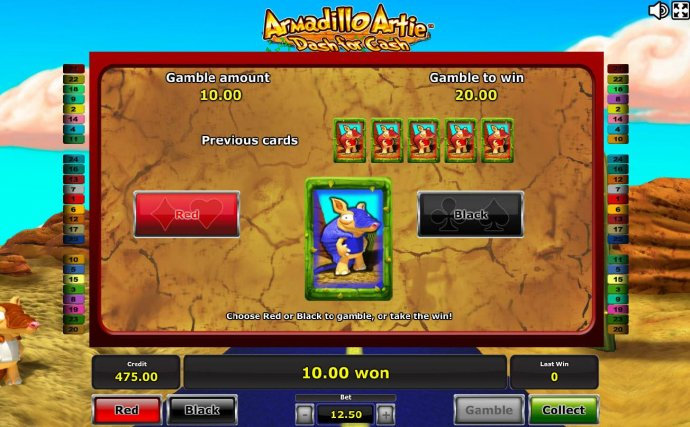Gamble Feature - To gamble any win press Gamble then select Red/Black. - No Deposit Casino Guide