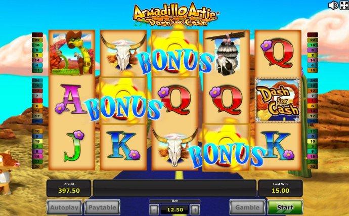 Three or more bonus symbols triggered feature. - No Deposit Casino Guide