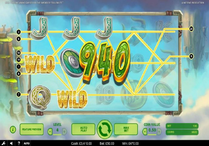 No Deposit Casino Guide - Three wild symbols trigger multiple winning paylines leading to a 940 coin big win!