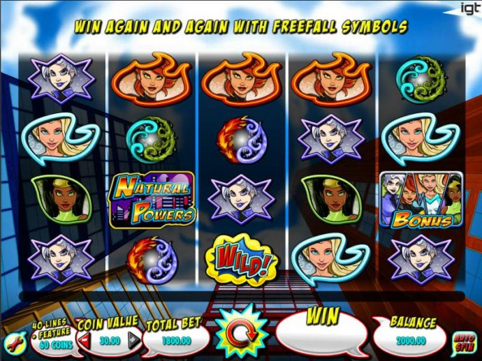 Main game board featuring five reels and 40 paylines with a $250,000 max payout by No Deposit Casino Guide