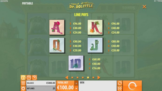 Paytable - Low Value Symbols by No Deposit Casino Guide