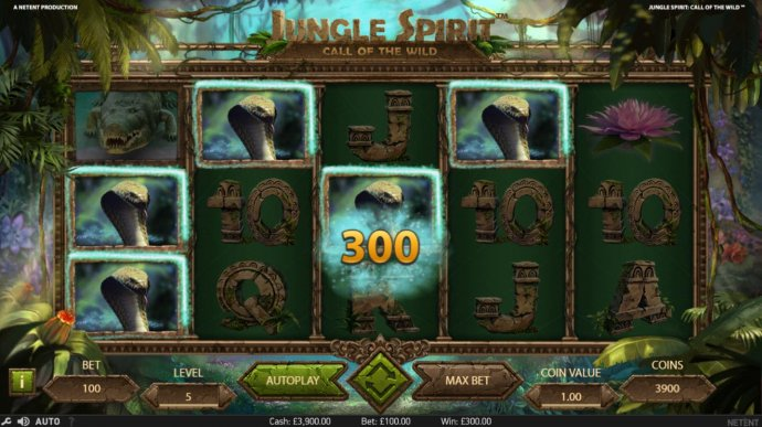 A winning combination of Cobra Snake symbols leads to a 300 coin payout. by No Deposit Casino Guide