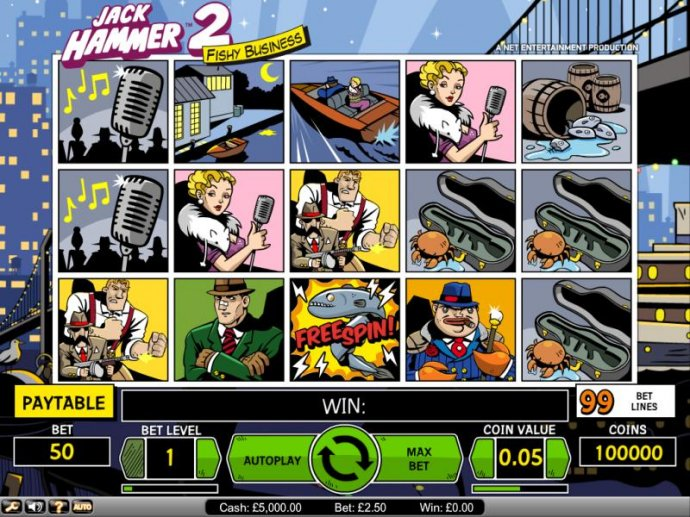 Jack Hammer 2 Fishy Business slot game board by No Deposit Casino Guide