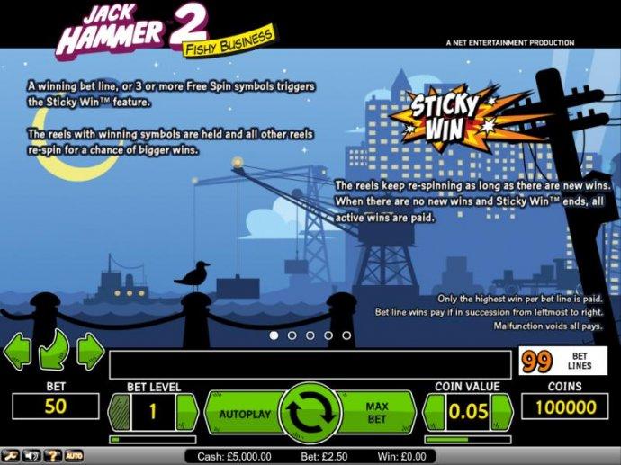 Jack Hammer 2 Fishy Business 3 or more free spin symbols triggers Sticky Win feature - No Deposit Casino Guide