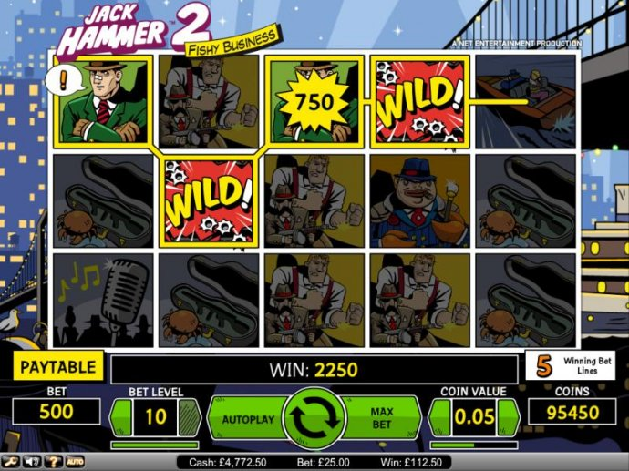 Jack Hammer 2 Fishy Business slot game big win 2250 coin payout - No Deposit Casino Guide
