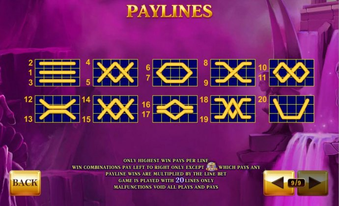 Payline Diagrams 1-20. Only highest win pays per line. - No Deposit Casino Guide