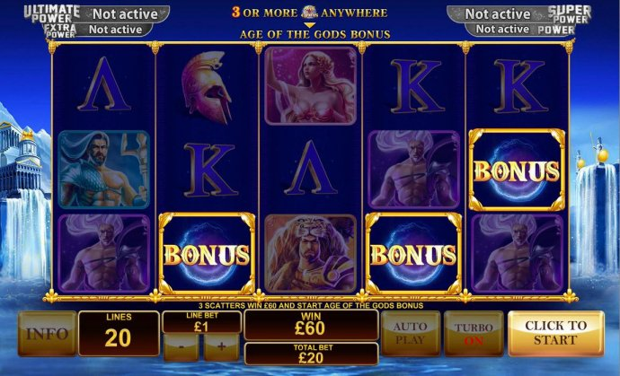 No Deposit Casino Guide - Three scatters win 60.00 and start Age of the Gods Bonus.